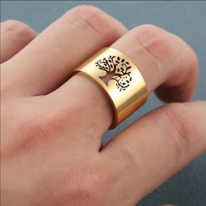NEW! TREE OF LIFE GOLD STAINLESS STEEL RING